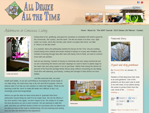 The All Deluxe All The Time site focuses on mindful and sustainable living. It is a full WordPress site.