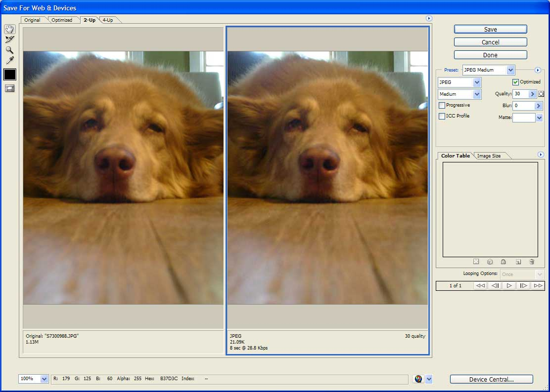 Photshop's Save for Web and Devices window