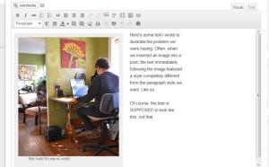 Screenshot of the visual editor