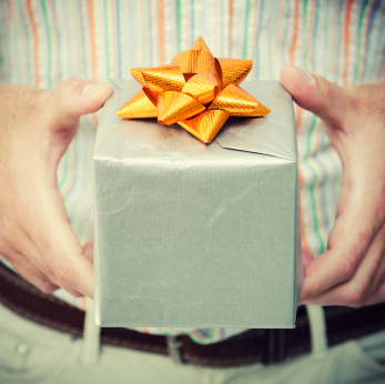 Gift box carried by man