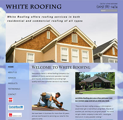 Image of the redesigned website for White Roofing Company. Design and development by Deluxe Interactive Services.
